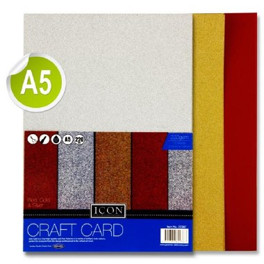 Icon A5 Glitter Card 10 Sheets Assorted 220gsm