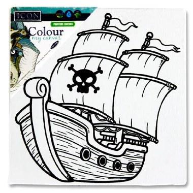 Icon Colour My Mini Canvas 100 x 100mm Pirate Ship