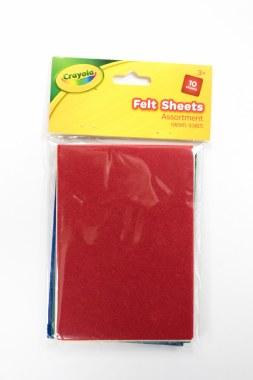 Crayola Craft Small Felt Sheets Assorted 10 Sheets