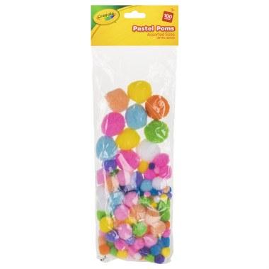 Crayola Craft Pastel Pom Poms 100 Assorted