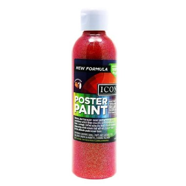 Icon Glitter Poster Paint Red 300ml