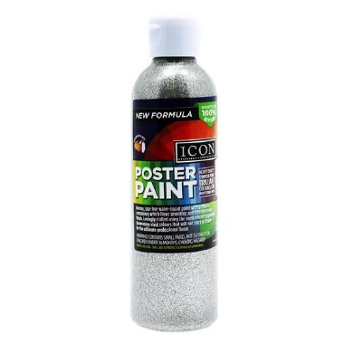 Icon Glitter Poster Paint Silver 300ml