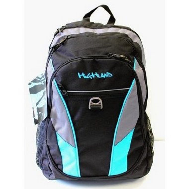 Highland School Bag Neon Black/Blue 28 Litres