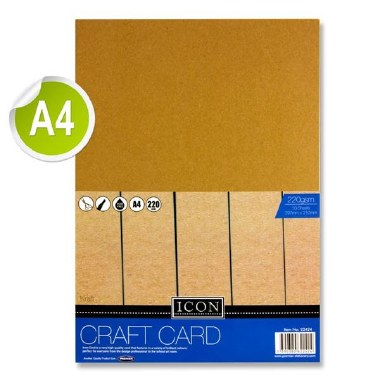 Icon A4 Kraft Card 10 Sheets 220gsm