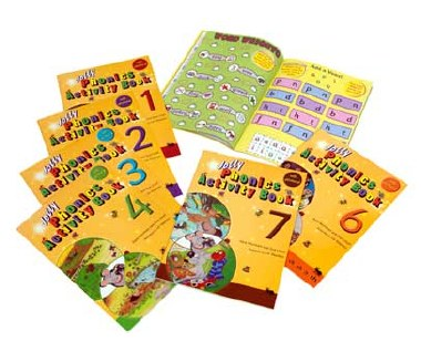 Jolly Phonics Activity Books Colour Set of  1 to 7 Precursive Looped Style