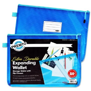 Document Mesh Wallet Extra Durable Bluebird Blue A4+