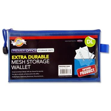 Document Mesh Wallet DL Extra Durable Printers Blue
