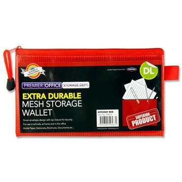 Document Mesh Wallet DL Extra Durable Ketchup Red