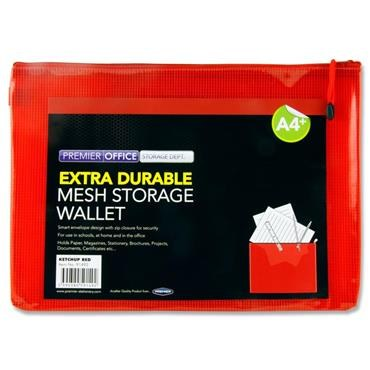 Document Mesh Wallet Extra Durable Ketchup Red A4+