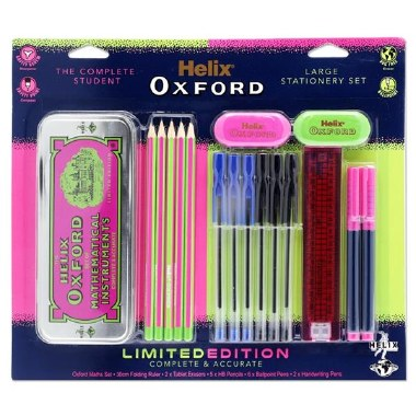 Helix Oxford Complete Student Stationery Set Pink