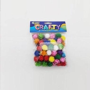 Pom Poms 100 Pack Glitter 2cm Perfect Stationery