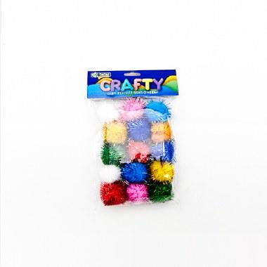 Pom Poms 10 Pack Glitter 3cm Perfect Stationery