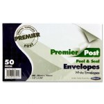 Envelopes White Size 89mm x 152mm Pack 50 Peel & Seal