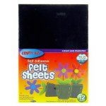 Felt 12 Self Adhesive Sheets Assorted Colours Size 9 x 6 inch