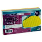 Record Cards 5 inch x 3 inch Coloured 100 Pack