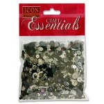 Sequins Black & Silver 40g Icon