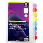 Dividers 8 round Tabs Transparent Premier