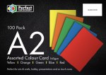 A2 Card Assorted Colours 100 Pack 160g Perfect Stationery
