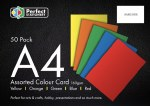 A4 Card Assorted 50 Pack 160gsm Perfect Stationery