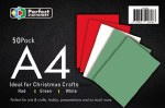A4 Card Christmas 50 Pack 160gsm Perfect Stationery