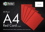 A4 Card Red 50 Pack 160g Perfect Stationery
