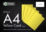 A4 Card Yellow 50 Pack 160g Perfect Stationery