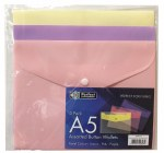 Button Wallets A5 3 Pack Pastel Perfect Stationery