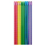 Emotionery 10 Blingtastic Pencils with Erasers Glitter Stripe