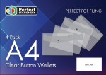 Button Wallets A4 4 Pack Clear Perfect Stationery