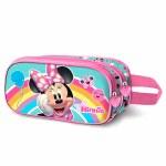 Disney Pencil Case Double Zip 3D Minnie Rainbow