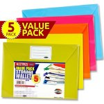 Document Wallets A4 5 Pack Bright Colours