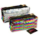 Emotionery Blingtastic Sequin Pencil Case Silver & Rainbow