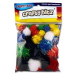 Crafty Bitz Pom Poms Glitter 30 Pack