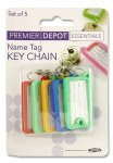 Key Name Tags 5 pack Assorted
