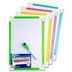 Magnetic Whiteboard Coloured Edge 20cm x 30cm