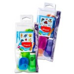 Maped 4 Piece Stick Art Transparent Pencil Case + 60 Stickers