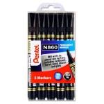 Pentel N860 Chisel Black Permanent Marker 5 Pack