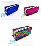 Double Zip Pencil Case Glitter Sequin Perfect Stationery