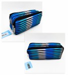 Double Zip Pencil Case Striped Perfect Stationery