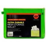 Document Mesh Wallet Extra Durable Caterpillar Green A4+
