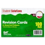 "Revision Cards 6"" x 4"" 100 Coloured"