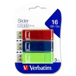 Verbatim USB 16GB Slider 3 Pack