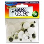 Crafty Bitz Tub 50 Self Adhesive Wiggle Eyes Neon