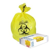 "Biohazard Yellow Can Liners 43"" x 30""  1.3mil (200)"
