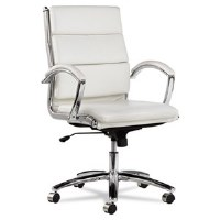 Alera Neratoli Mid-Back Whte Leather/Chrome Chair