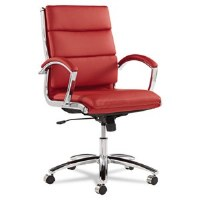 Alera Neratoli Mid-Back Red Leather/Chrome Chair