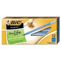 Bic Round Stic Pen Blue (12)