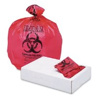 """Biohazard Red Can Liners 33"""" x 39""""  1.3mil (150)"""