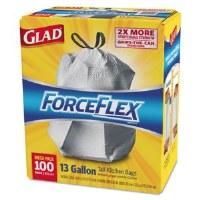 Glad ForceFlex Tall Kitchen Drawstring Bags (100)