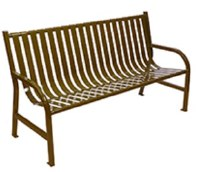 Slatted Metal 5' Bench Brown